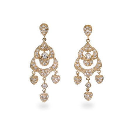 Glamorous Pave CZ Chandelier Gold Vermeil Earrings | Eve's Addiction®
