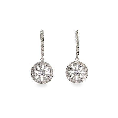 Diamond CZ Glam Drop Sterling Silver Earrings | Eve's Addiction®