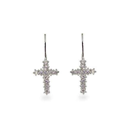 CZ Sterling Silver Cross Earrings | Eve's Addiction®