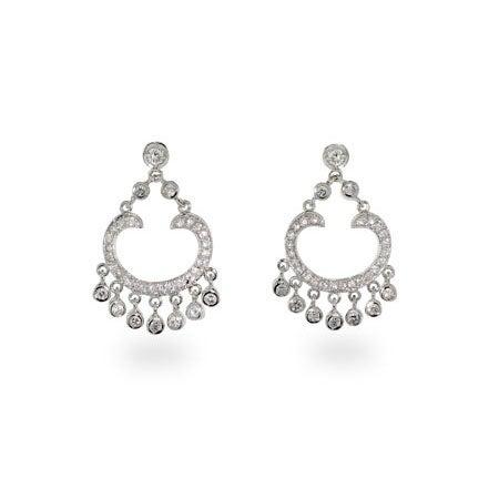 Diamond CZ Sterling Silver Chandelier Earrings | Eve's Addiction®