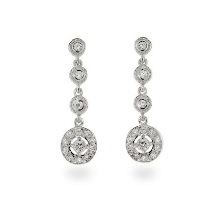 Dangle Cubic Zirconia Sterling Silver Earrings | Eve's Addiction®