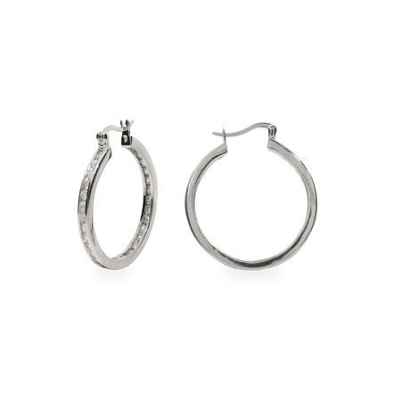 Channel Set Inside Out CZ Earrings | Eve's Addiction
