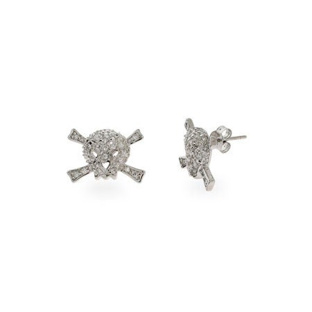 Pave CZ Skull & Crossbones Stud Earrings | Eve's Addiction®
