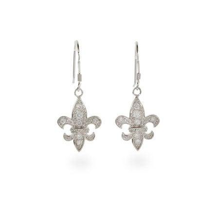Dangle CZ Fleur De Lis Earrings | Eve's Addiction®