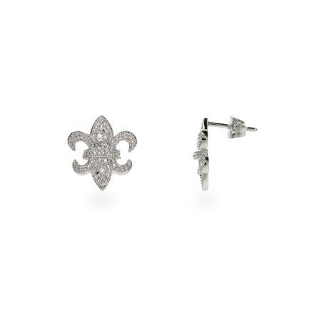 Fleur De Lis CZ Sterling Silver Stud Earrings | Eve's Addiction®