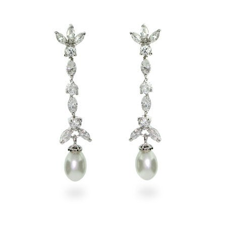 Pearl and CZ Drop Sterling Silver Earrings | Eve's Addiction®