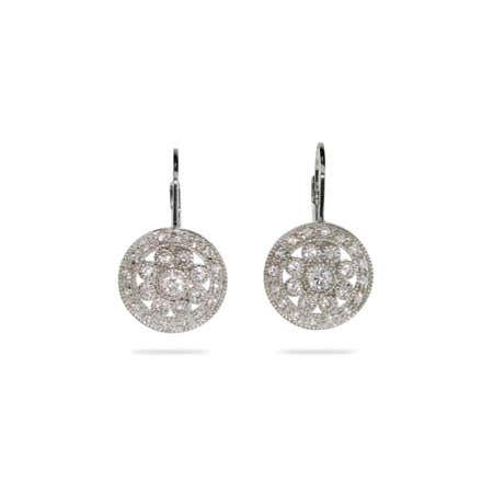 Vintage Style Round Drop CZ Leverback Earrings