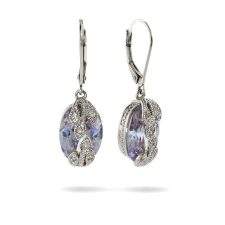 Designer Inspired Vintage Style Lavender CZ Earrings | Eve's Addiction®