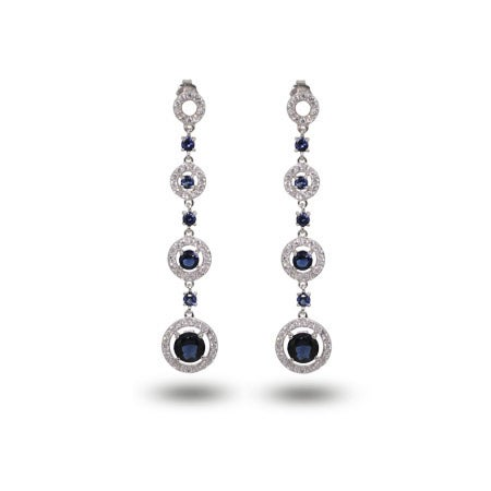 Sapphire CZ Circle Drop Earrings | Eve's Addiction®