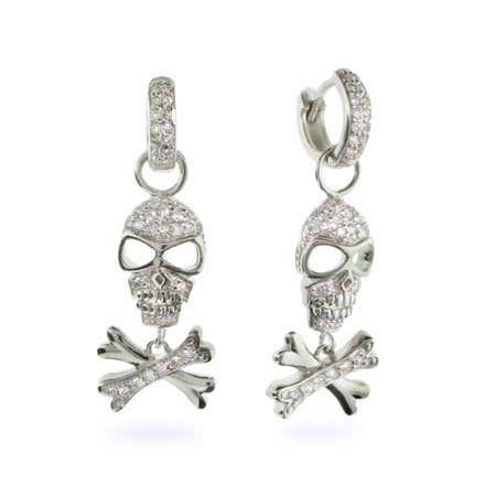 CZ Huggy Skull & Crossbones Sterling Silver Earrings | Eve's Addiction®