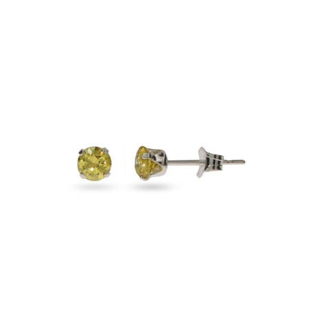 4mm Citrine Cubic Zirconia Stud Earrings | Eve's Addiction®