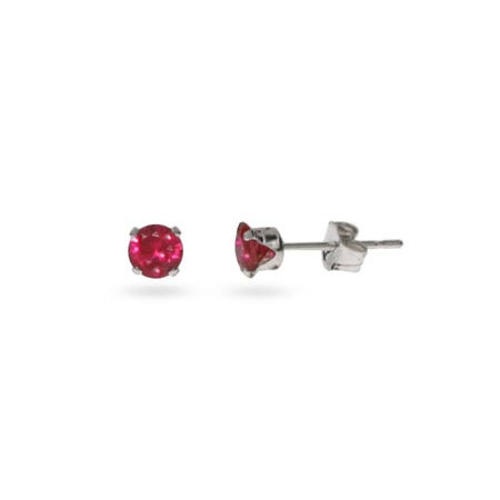 Sterling Silver 4 mm Ruby Cubic Zirconia Stud Earrings | Eve's Addiction®