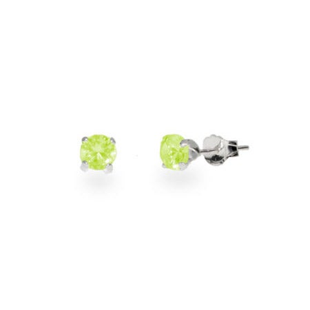 4 mm Peridot Cubic Zirconia Sterling Silver Studs | Eve's Addiction®