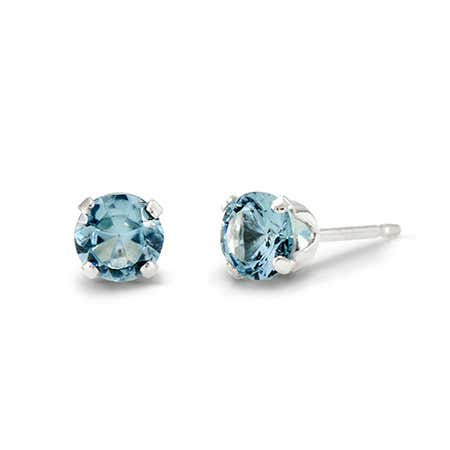 Aquamarine Cubic Zirconia Silver Stud Earrings