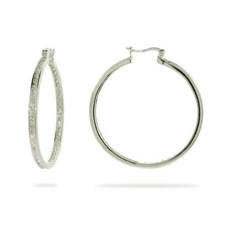 "Channel Set 1 3/4"" Inside Out CZ Hoops 