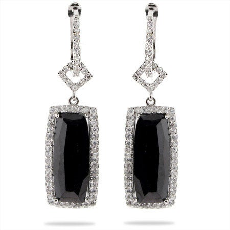 Designer Style Black Onyx CZ Rectangle Drop Earrings | Eve's Addiction®