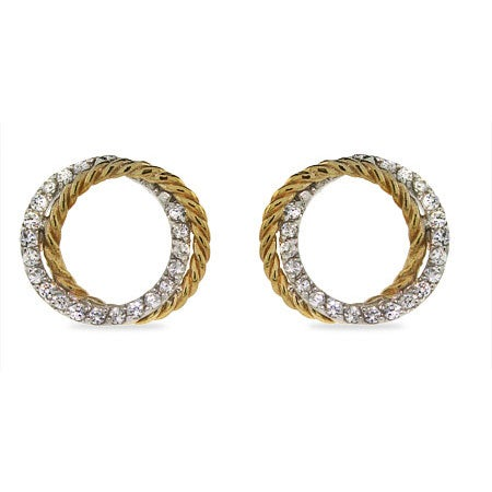 Sparkling Two Tone Cubic Zirconia Cable Circle Earrings | Eve's Addiction®