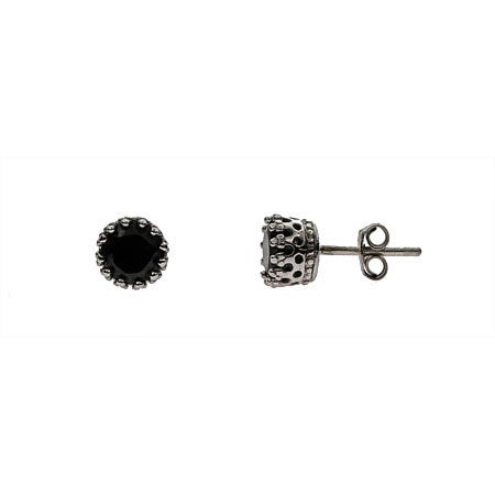 Silver Black Onyx Crown Set Stud Earrings