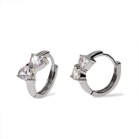 Joined Hearts CZ Sterling Silver Huggie Earrings | Eve's Addiction®