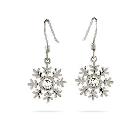 Sparkling CZ Elegant Sterling Silver Snowflake Earrings | Eve's Addiction®