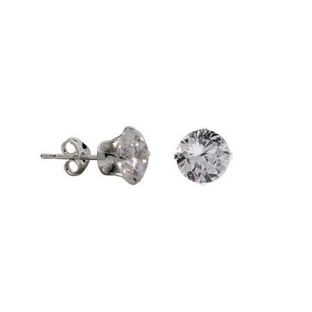 1.25 Carat Sterling Silver Diamond CZ 7mm Stud Earrings