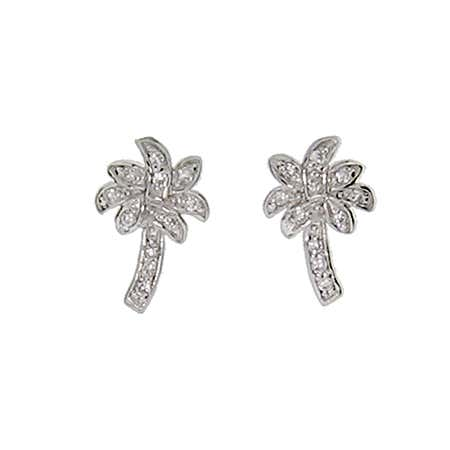 Designer Style CZ Palm Tree Stud Earrings