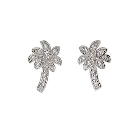 Designer Style CZ Palm Tree Stud Earrings | Eve's Addiction®