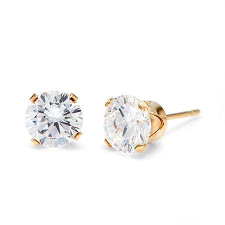 14K Gold Filled Round Diamond CZ 6mm Stud Earrings | Eve's Addiction®