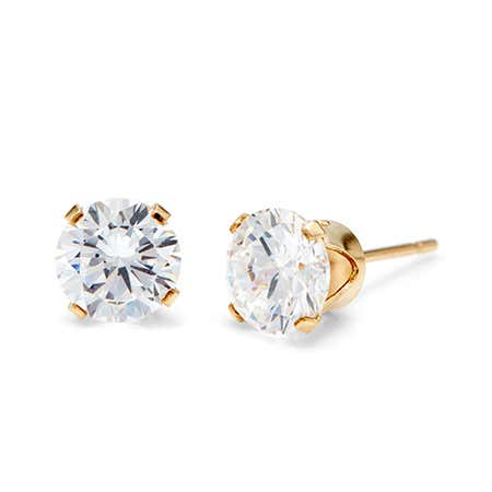 display slide 1 of 1 - 14K Gold Filled Round Diamond CZ 6mm Stud Earrings | Eve's Addiction® - selected slide