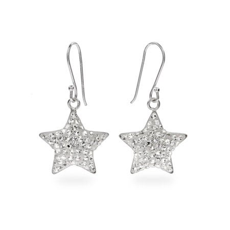 Brilliant CZ Sterling Silver Star Dangle Earrings | Eve's Addiction®