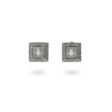Mens Sterling Silver Square Cut CZ Earrings | Eve's Addiction®