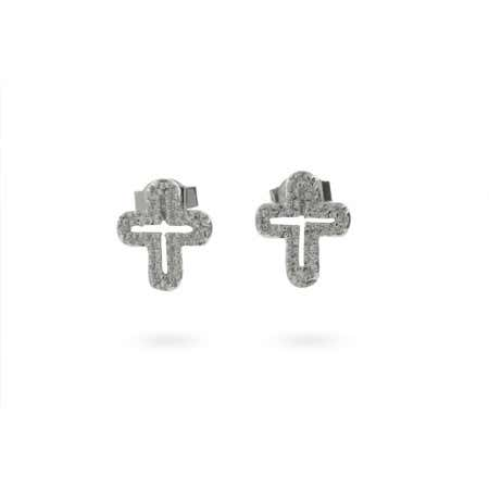 Sterling Silver and CZ Cross Earrings | Eve's Addiction®
