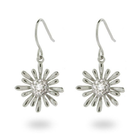 Pave CZ Daisy Dangle Earrings in Sterling Silver | Eve's Addiction®