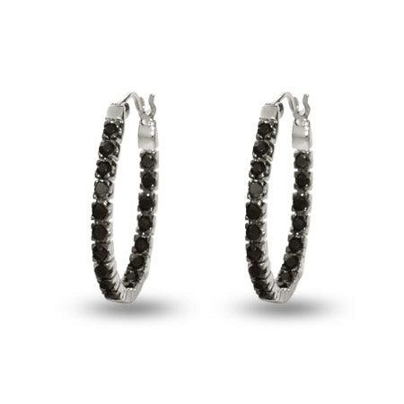 Petite Black Cz Inside Out Oval Hoop Earrings | Eve's Addiction®