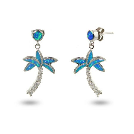 Designer Style Genuine Opal and CZ Palm Tree Earrings