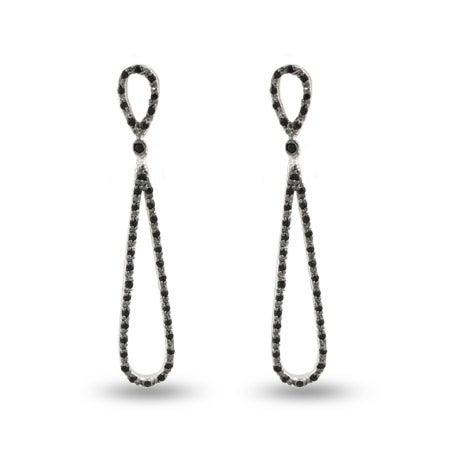 Hollywood Black Onyx CZ Glamour Teardrop Earrings | Eve's Addiction®
