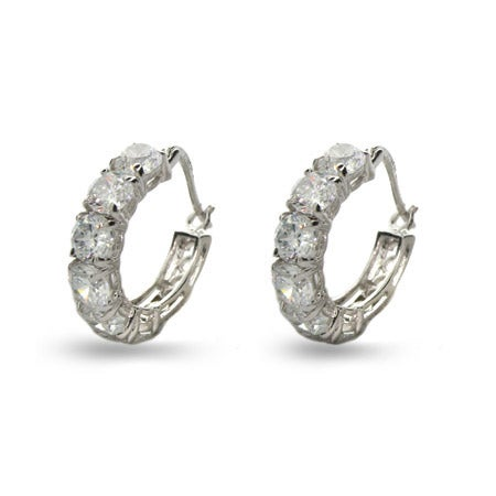 Round Brilliant Cut Diamond CZ Six Stone Hoops | Eve's Addiction®