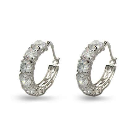display slide 1 of 1 - Round Brilliant Cut Diamond CZ Six Stone Hoops - selected slide
