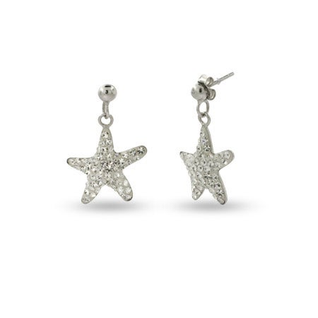 Sterling Silver Swarovski Crystal Starfish Earrings | Eve's Addiction®