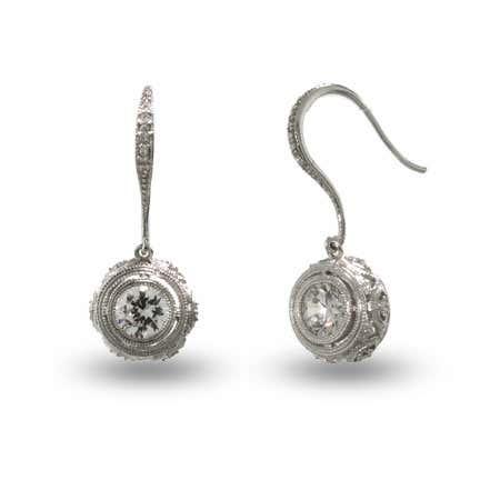 Victorian Style Crown Set Silver Bezel CZ Drop Earrings
