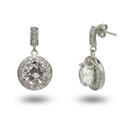Stunning Round Brilliant Cut CZ Drop Earrings | Eve's Addiction®
