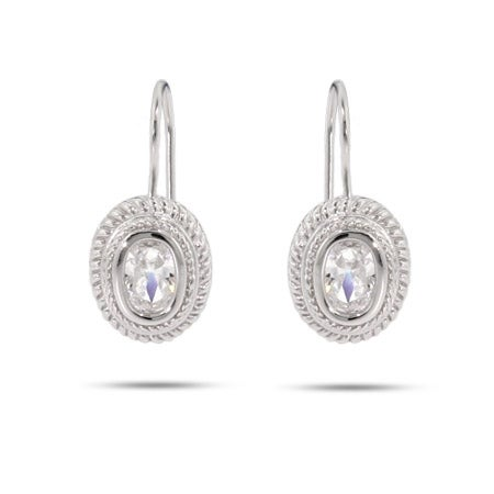Designer Inspired Sterling Silver Oval Cable Leverback CZ Earrings | Eve's Addiction®
