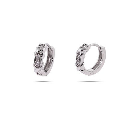 Designer Style Four Stone Huggie Earrings with Silver Xs | Eve's Addiction®