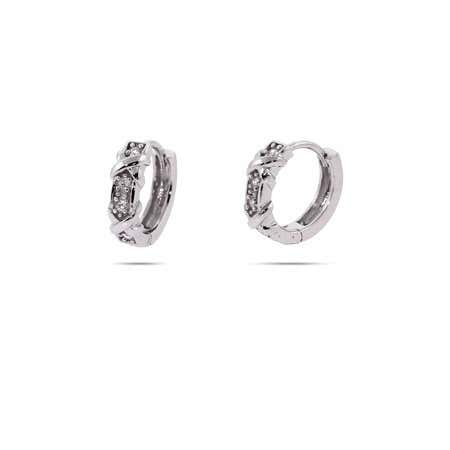 Designer Style Four Stone Huggie Earrings with Silver Xs