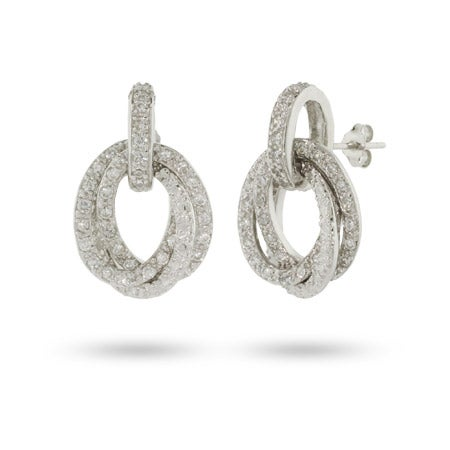 Sparkling CZ Oval Drop Earrings | Eve's Addiction®