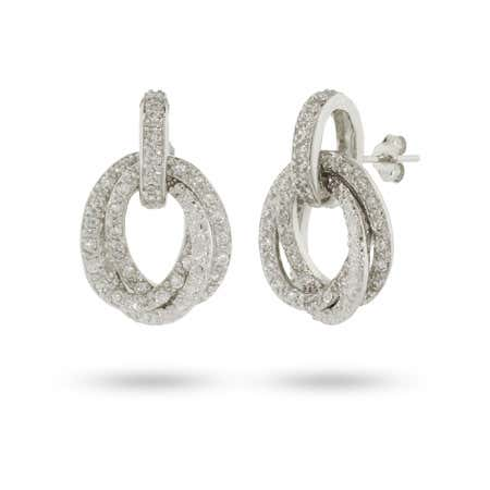 Sparkling CZ Oval Drop Earrings | Eve's Addiction®