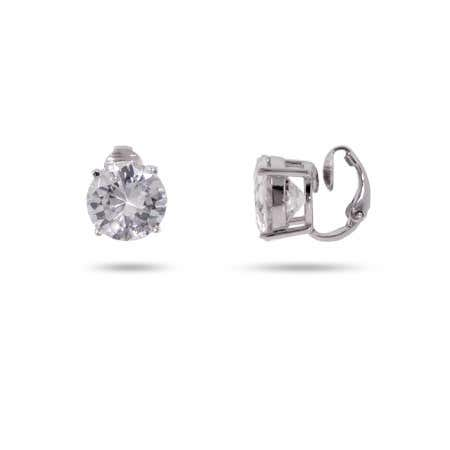 5 Carat CZ Sterling Silver Clip-On Earrings