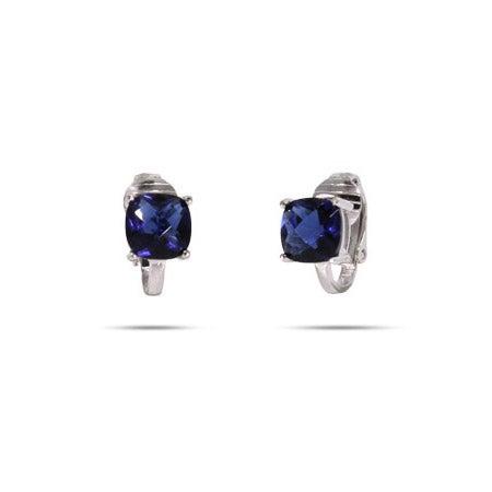 Cushion Cut Sapphire CZ Clip-On Earrings | Eve's Addiction®