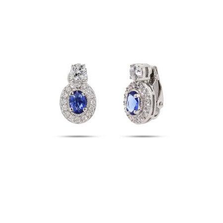 Sapphire CZ Oval Drop Clip-On Earrings   Eve's Addiction®