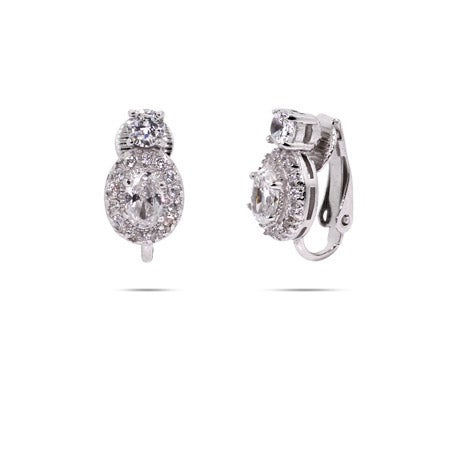 Pave CZ Oval Drop Clip-On Earrings | Eve's Addiction®